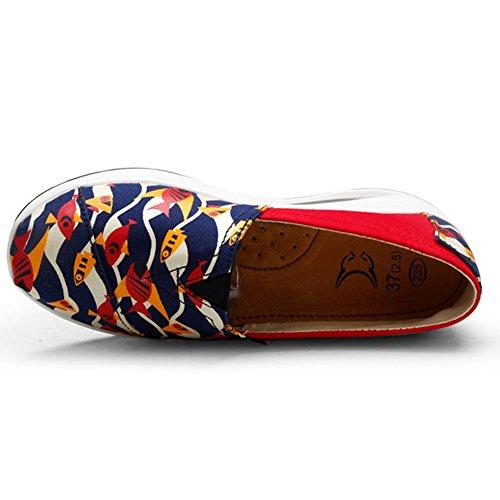 Damesschoenen Casual Canvas Ronde Top Slip Op Fashion Sneakers Van Btrada Rood