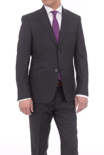 Charcoal Super 150's Wool Suit (Ideal Slim Fit Solid Charcoal Two Button Super 150's Wool Suit With Peak Lapels)