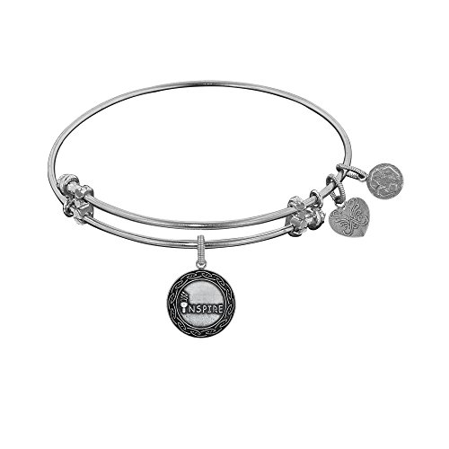 """Angelica White Rhodium Over Brass Expandable Inspire Bangle Charm Bracelet - 7.25"""" -  JewelStop"""