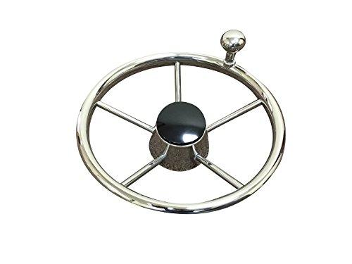 Pactrade Marine 5 Spoke Stainless Steel Steering Wheel with Turning Knob, 11
