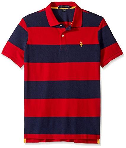 Stripe Shirt Mens Classic (U.S. Polo Assn. Men's Slim Fit Stripe Short Sleeve Pique Polo Shirt, Engine Red/Classic Navy-8207, Small)