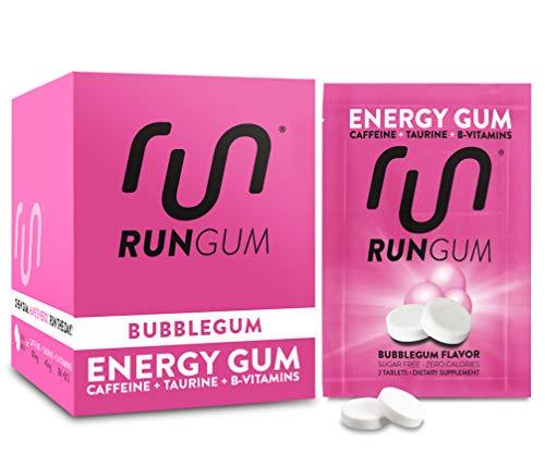 RUN GUM Bubblegum Energy Chewing Gum 50mg Caffeine Taurine & B-Vitamins Per Piece, 24 Pieces (Pack of 12) Sugar Free, Zero Calorie, No Aspartame, and Gluten Free