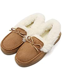 Women's House Slippers Moccasins Slip On Micro Suede Faux Fur Lined Indoor & Outdoor