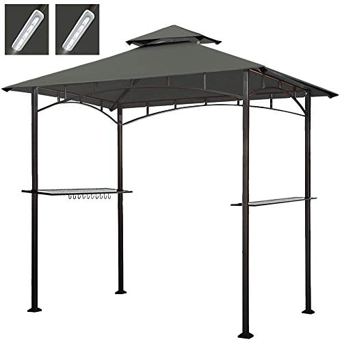 Keymaya 8x5 Grill Gazebo Shelter for Patio and Outdoor Backyard BBQ's, Double Tier Soft Top Canopy and Steel Frame with Bar Counters, Bonus LED Light X2 (Gray)
