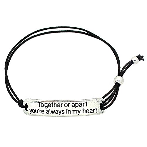 (KIS-Jewelry Together Or Apart You're Always in My Heart' Inspirational Stretch Bracelet - One Size Fits All Motivational Bracelet with Engraved Plaque & Black)