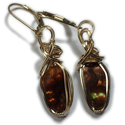 Handmade Wire Rings - Rocks2Rings Mexican Fire Agate Earrings - 14k Gold Filled Leverback Wire Wrapped Jewelry 3GE3 ZP