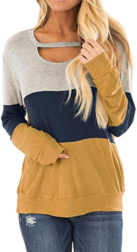 Women's Comfy Shirts Tops Long Sleeve Casual Color Block Chest Cutout Loose Blouses