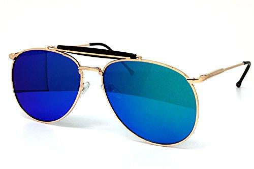 O2 Eyewear 535 Premium Mirrored Retro Teardrop Flat Aviator Vintage Sunglasses (MIRRORED, - Turquoise Aviator Sunglasses