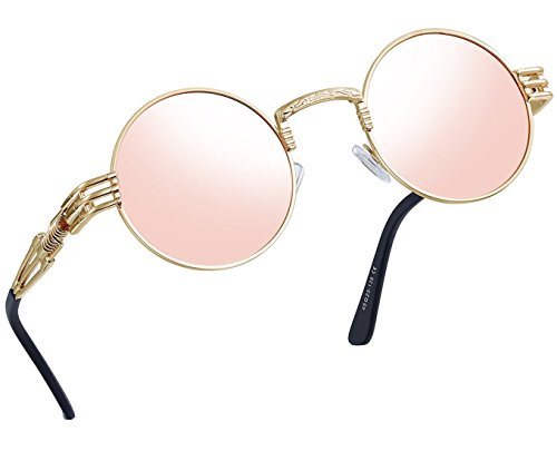 Joopin-Round Retro Polaroid Sunglasses Driving Polarized Glasses Men Steampunk (Pink Punk)