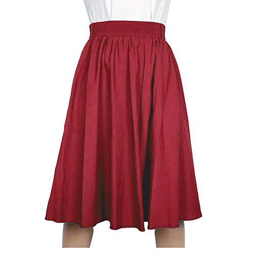 Kaachli Women's Casual Blue A line Midi Pull on Elastic Waist Fall Skirt (S, Red)