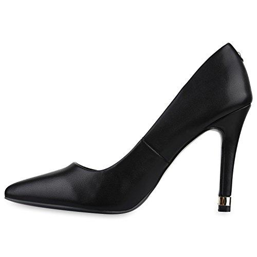 Stiefelparadies Elegante Spitze Pumps Damen High Heels Lack Stilettos Animal Print Flandell Schwarz Black