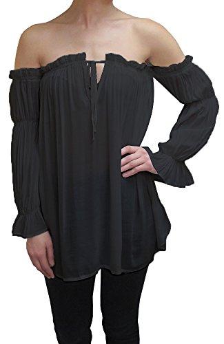 Anna-Kaci Womens Semi Sheer Boho Peasant Long Sleeve Off the Shoulder Top, Black, Small (Women Pirate Shirt)