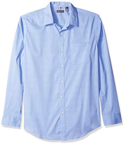 - Van Heusen Men's Traveler Button Down Long Sleeve Stretch Blue/White Shirt, Crisp Plaid, Small