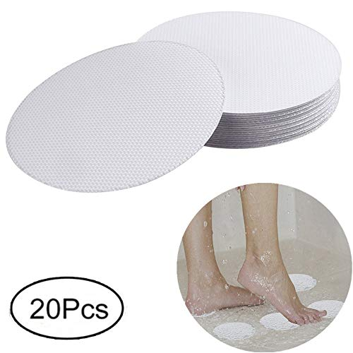 XWJJ Safety Shower Treads anti-slip, 20 pieces Safety Walk Self Adhesive Non-Slip Discs Tape Bathtub Stickers for Tubs Bath, 4 inch (Self Adhesive Bath)