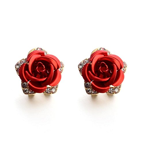 Rectangular Necklace Enhancer - Forthery Stud Earrings, Women's Crystal Rose Rhinestone Earrings Fashion Woman Jewelry (Red)