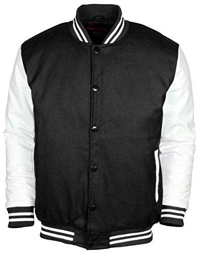 Men's Snap-Close Letterman Varsity Jacket-Black/White-XL (Black White Jacket)