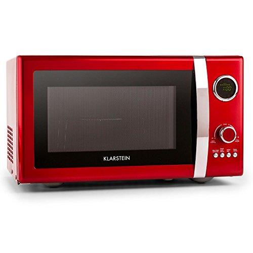 Klarstein Fine Dinesty 2in1-Mikrowelle Mikrowellenofen mit Grill (23 Liter, 800W Mikrowellenleistung / 1000W Grillleistung, Timer, 12 Programme) rot