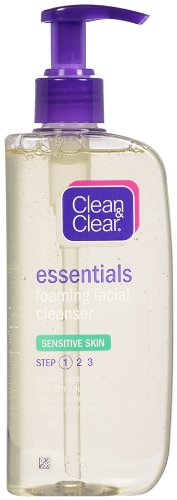 Clean & Clear Essentials Foaming Facial Cleanser Sensitive Skin, 8 Ounce (Pack of 2) - Clean Foaming Face Wash