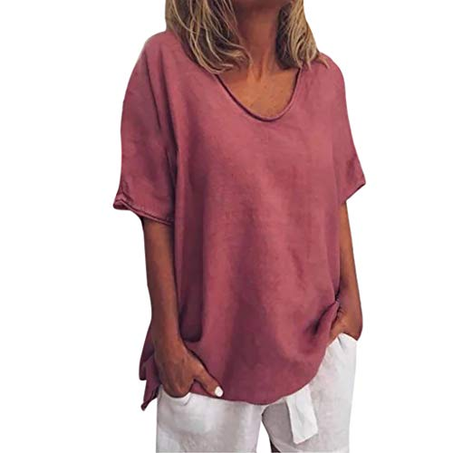Pengy Woman Pure Color Top O-Neck Flax Short Sleeves T-Shirt Lady Plus Size Tunics Shirt Blouses Tops Wine