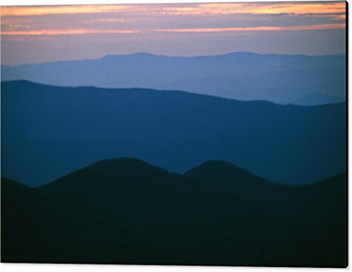 ''Sunset Over The Blue Ridge Mountains'' by National Geographic, Canvas Print Wall Art, 60'' x 39.75'', Black Gallery Wrap, Glossy Finish by Pixels