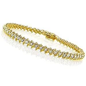 2.00 Carat 10K Yellow Gold Diamond Tennis Bracelet - 7""