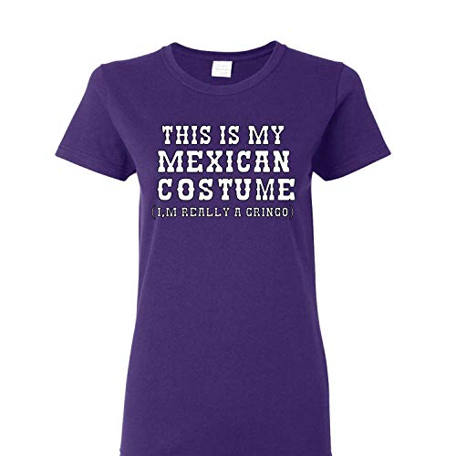 (This is My Mexican Costume Cinco De Mayo Womens Graphic T-Shirt, Purple, X-Large )