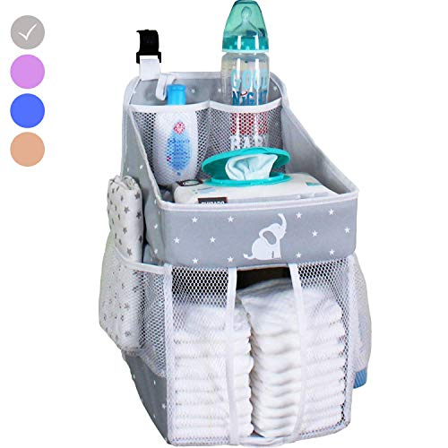 Baby Crib Diaper Caddy - Hanging Diaper Organizer - Storage For Baby Nursery - Hang on Crib, Changing Table, Playard or Furniture - Elephant Gray - 17x9x9 ()