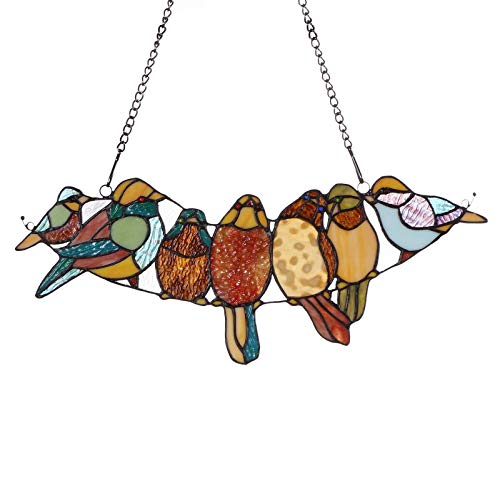 (Bieye W10016 19 inches Tropical Bird Tiffany Style Stained Glass Window Panel with Hanging Chain)