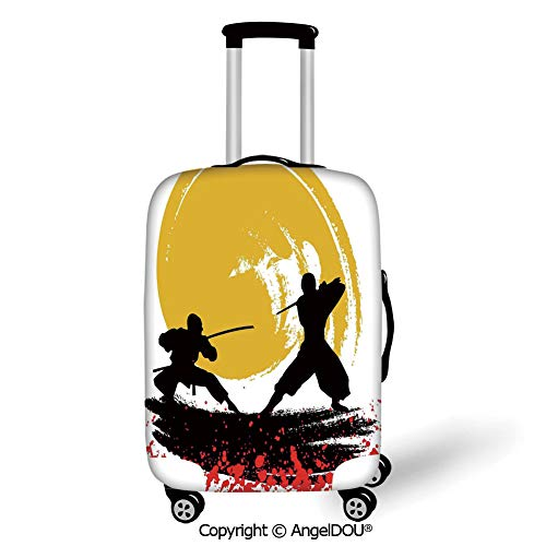 (AngelDOU Travel Accessories Elastic Luggage Dust Cover Japanese Watercolor Style Silhouette Ninjas in the Moonlight Medieval Battle Vermilion Mustard Black Apply to 18''-28'' Suitcase.)
