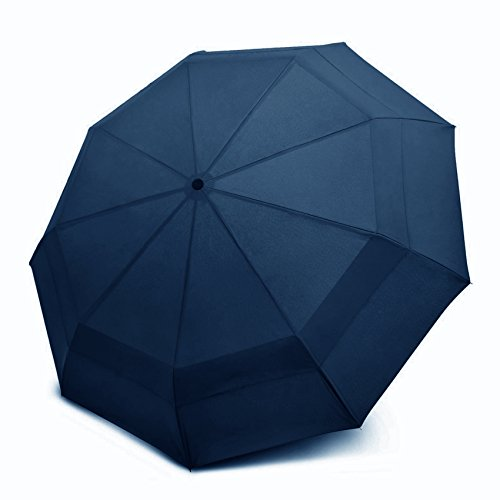 sMrt Design 'The Wind Charmer' Umbrella - Windproof Strong Double Canopy Construction - Compact, Portable, Lightweight for Easy Travelling - Auto Open Close Button [Life-time Warranty] (Navy Blue)