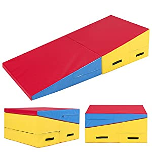"Best Choice Products 60"" X 30"" X 14"" Folding Gymnastics Incline Mat Cheese Wedge Skill Shape Tumbling Mat"