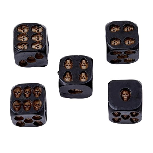 856store Clearance Sale 5Pcs Creative 6 Sided Skeleton Skull Resin Dice Halloween Festival Bar Game Toy]()