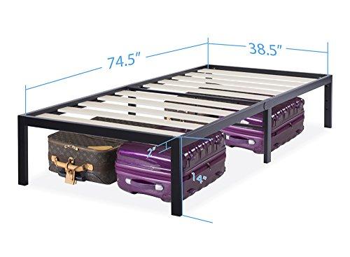 Olee Sleep 14 Inch Tall T-3000 Ultra Wood Slat Steel / Non-Slip Bed Frame 14BF06T