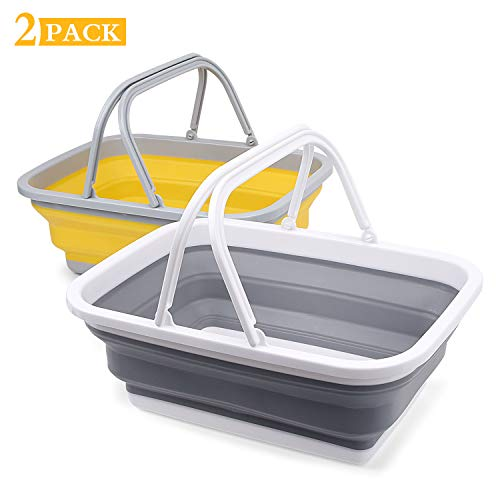 🥇 2 Pack Collapsible Sinks -Camping Picnic Baskets 10L/2.64 Gal – Foldable Ice Buckets with Sturdy Handle for Washing Dishes