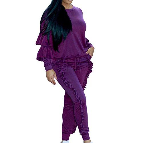 (LandFox Perfect Pajama Pants, Ladies 2 Piece Set, Women's Long Slevee Wave Edge Blouse TOP Trousers Purple)