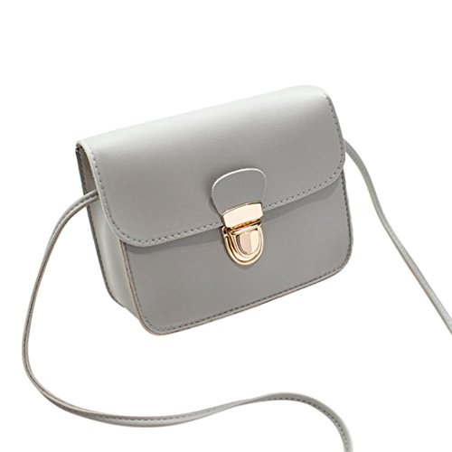Shoulder Bag, Woman PU Leather Messenger Bag Clutch Bags for Ladies Girls Small Plain Handbag (Red) Gray