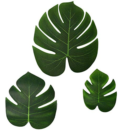 Artificial Tropical Palm Leaves-3 Sizes/13/8'/6' for Hawaiian/Luau/Weddings/Jungle Beach Theme Party Decoration Accessories(60Pcs)