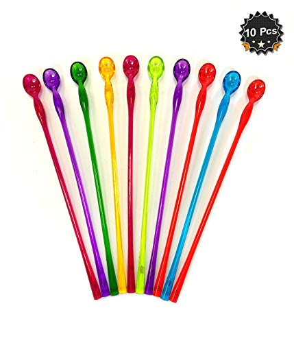 10 Inches Assorted Colors Swizzle Sticks Mixing Spoons Cocktail Shaker Spoons Barware Stirring Spoons, Pack of 10