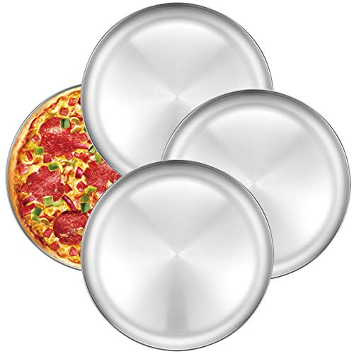 Pan Personal Pizza - Pizza Baking Pan Pizza Tray - Deedro 12 inch Stainless Steel Pizza Pan Round Pizza Baking Sheet Oven Tray, Non-toxic & Healthy Bakeware for Oven Baking, 4 Pack