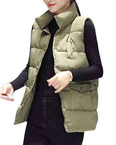 Slim Manches Epais Manteau Sans Femme Boutons Doudoune Gilet Hiver Arm Automne Casual qtxfXETw