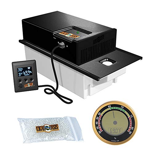 (Cigar Oasis Magna 3.0 Electronic Humidifier for Large Cabinet Humidors with Digital Analog Hygrometer Bundle )