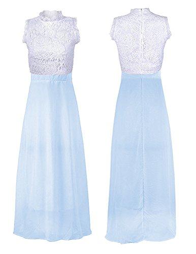 MODETREND Mujer Vestidos Sin Mangas Vestidos Elegante de Coctel Fiesta Largos de Noche Bodas y Ceremonia Azul