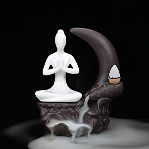 Ceramic Incense Holder, Backflow Incense Burner Waterfall Incense Cone Holders Home Decor Gift Decorations Statue Ornaments - Moon and Yoga Style, Brown (F)