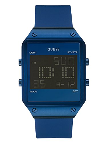 Guess Men's U0595G2 Trendy Blue Stainless Steel Watch with Digital Dial and Blue Strap ()