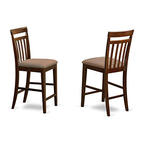 Stool Seat Finish - East West Furniture EWS-OAK-C Stool Set with Upholstered Seat, Dark Oak Finish, Set of 2
