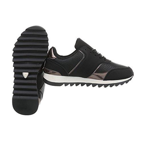 Zjy Zapatillas Ital Design Zapatos b69 Zapatillas Low para Negro Plano mujer 4wwTIp6z