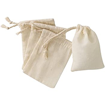 Amazon.com: Cotton Muslin Bags 3x5 Inch Double Drawstring 50 Count ...