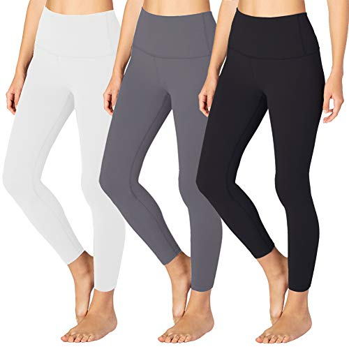 High Waisted Leggings for Women - Tummy Control Workout Running 4 Way Stretch Leggings- Reg & Plus Size (3 Pack Black, Dark Grey, White, One Size (US 2-12))