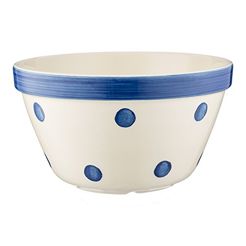 Mason Cash Spots All Purpose Bowl; Hand Painted; Made From Chip Resistant Earthenware; S36, 6-1/4-Inches by 3-1/2-Inches; White with Navy Spots