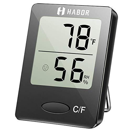 HABOR Mini Digital Thermometer, Portable Thermo-Hygrometer Large Display...